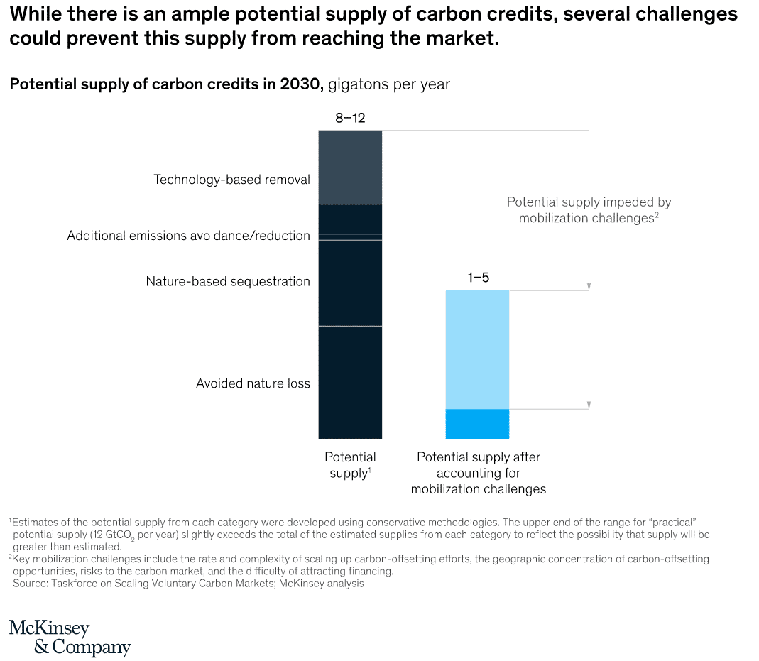 while there is an ample potential supply of carbon credits, several challenges could prevent this supply from reaching the market